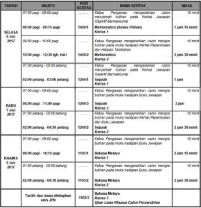 Jadual Waktu SPM Ulangan 2017 yang berdurasi 3 hari bermula Selasa 6 Jun 2017 sehingga Khamis 8 Jun 2017.