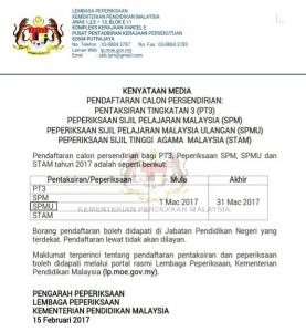 Kenyataan Media Pendaftaran Calon Persendirian PT3, SPM, STAM dan SPM Ulangan 2017