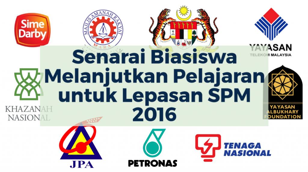 Caption Senarai Biasiswa Melanjutkan Pelajaran untuk Lepasan SPM 2016 beserta logo-logo yayasan penajaan biasiswa