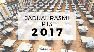 Background image of students attending exam in a hall with a big title Jadual Waktu Rasmi PT3 2017