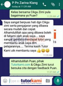 Testimonial Whatsapp klien TutorKami mengenai tutor terbaik buat anaknya