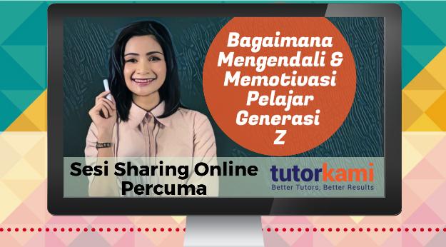 Caption Webinar Percuma: Bagaimana Mengendali & Memotivasi Pelajar Generazi Z dengan seorang guru wanita memegang kapur berlatarbelakangkan papan hitam.