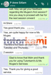 WhatsApp testimonial of one of TutorKami of the month: Miss Muges clients.