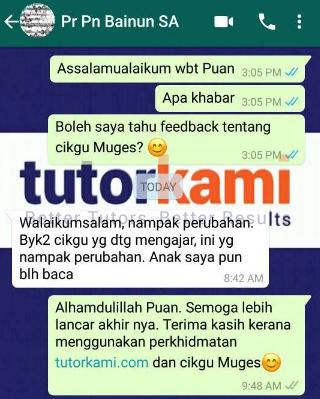 Ujian Saringan Tahun 1: Whatsapp Testimonial of Pn Bainun is one of TutorKami of The Month July: Miss Muges client