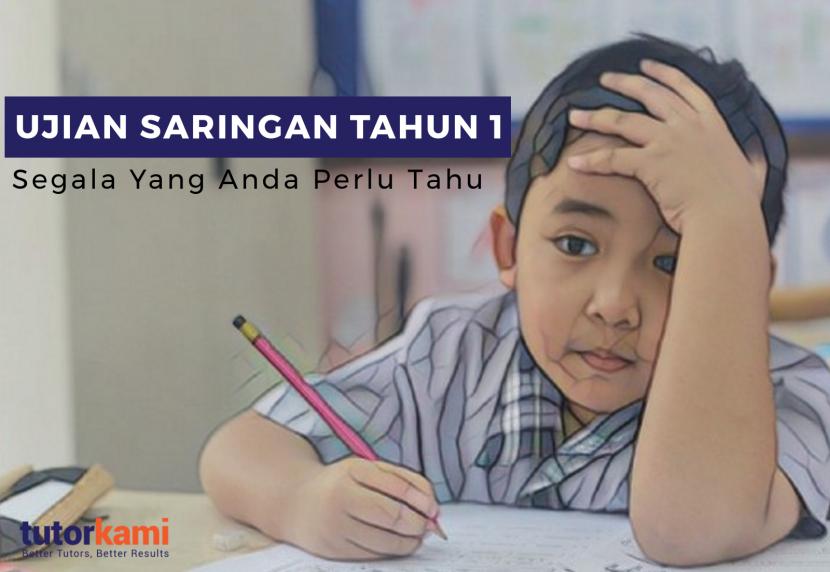 Seorang kanak-kanak memegang pensel menduduki ujian saringan tahun 1