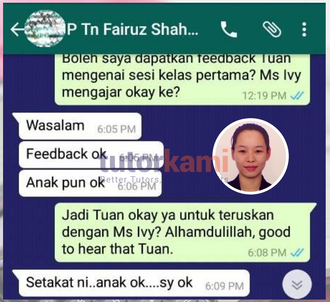 Testimoni En Fairuz terhadap TutorKami of the month bulan September 2017: Miss Ivy