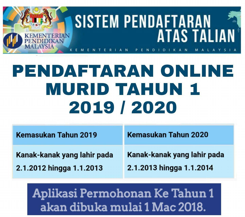 Info Pendaftaran Kemasukan Tahun 1 Sesi 2019 2020