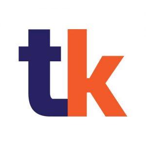 About Us : TutorKami logo. Letter T in blue. Letter K in orang
