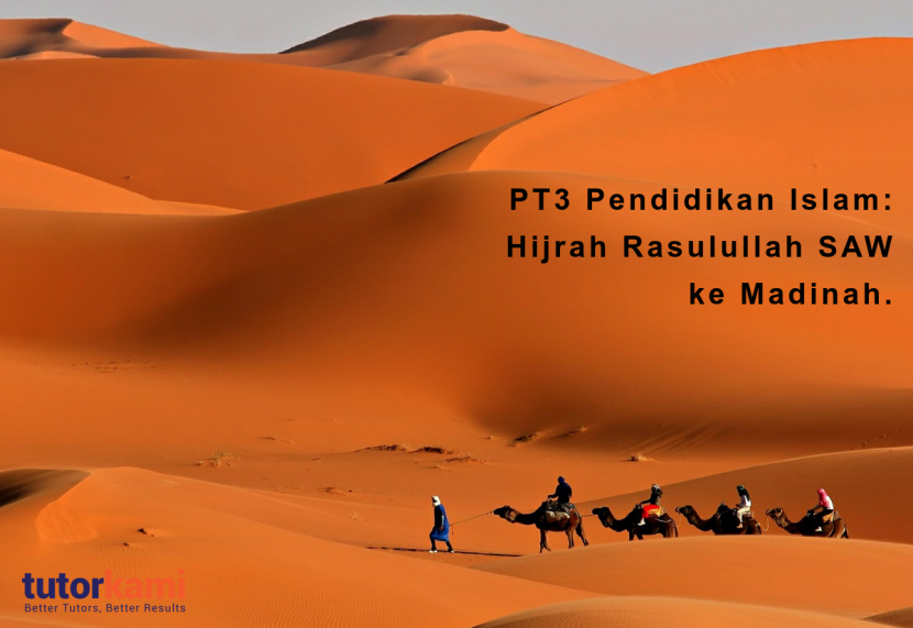 PT3 Pendidikan Islam: Hijrah Rasulullah. A group of travellers going through a dessert