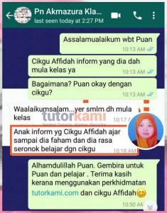 TutorKami of the Month Cikgu Nor Affidah Klien Whatsapp Testimoni