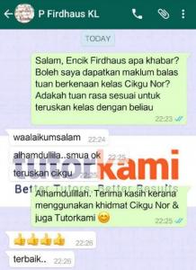 TutorKami of the Month, Cikgu Nor Affidah Whatsapp Testimonial Klien