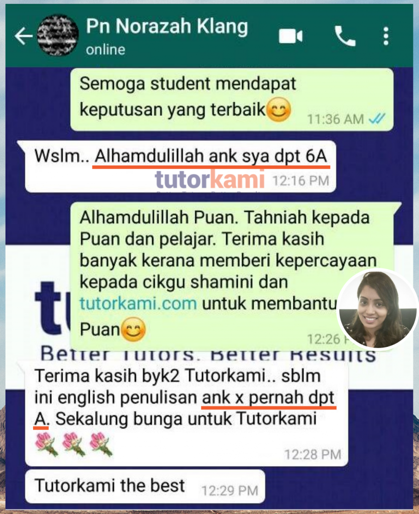 Tutorkami of the month: Miss Shamini's clients testimonial 6 A student